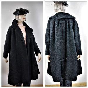 40s 50s Knobby Wool Swing Coat Black SWEET!